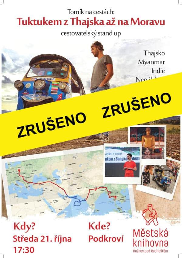 Tomík na cestách – Tuktukem z Thajska až na Moravu – zrušeno